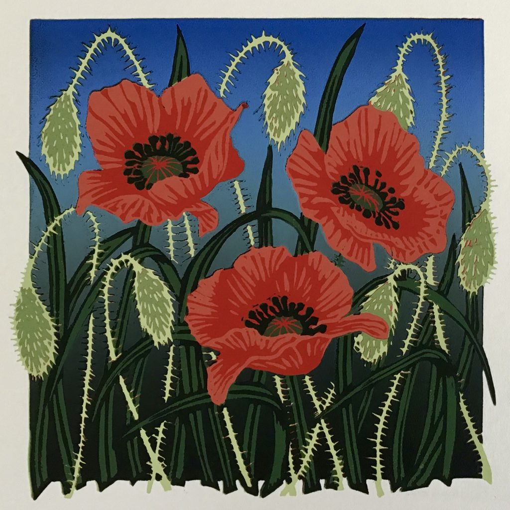 Tall Poppies - Linocut