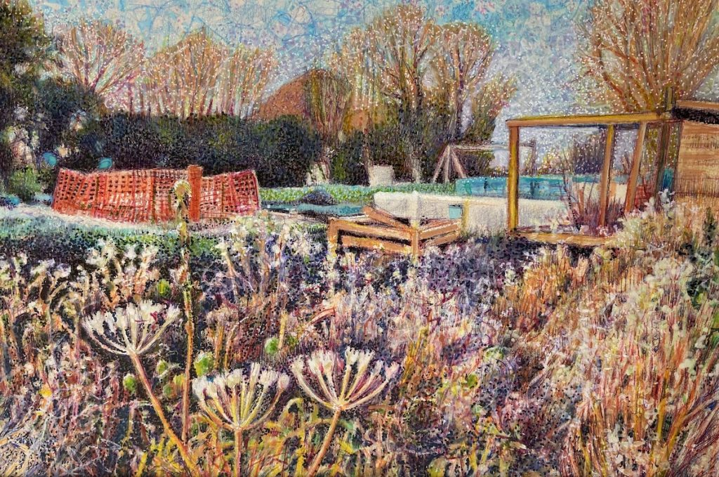 Wild Flowers in the Allotments mixed media on paper 2020