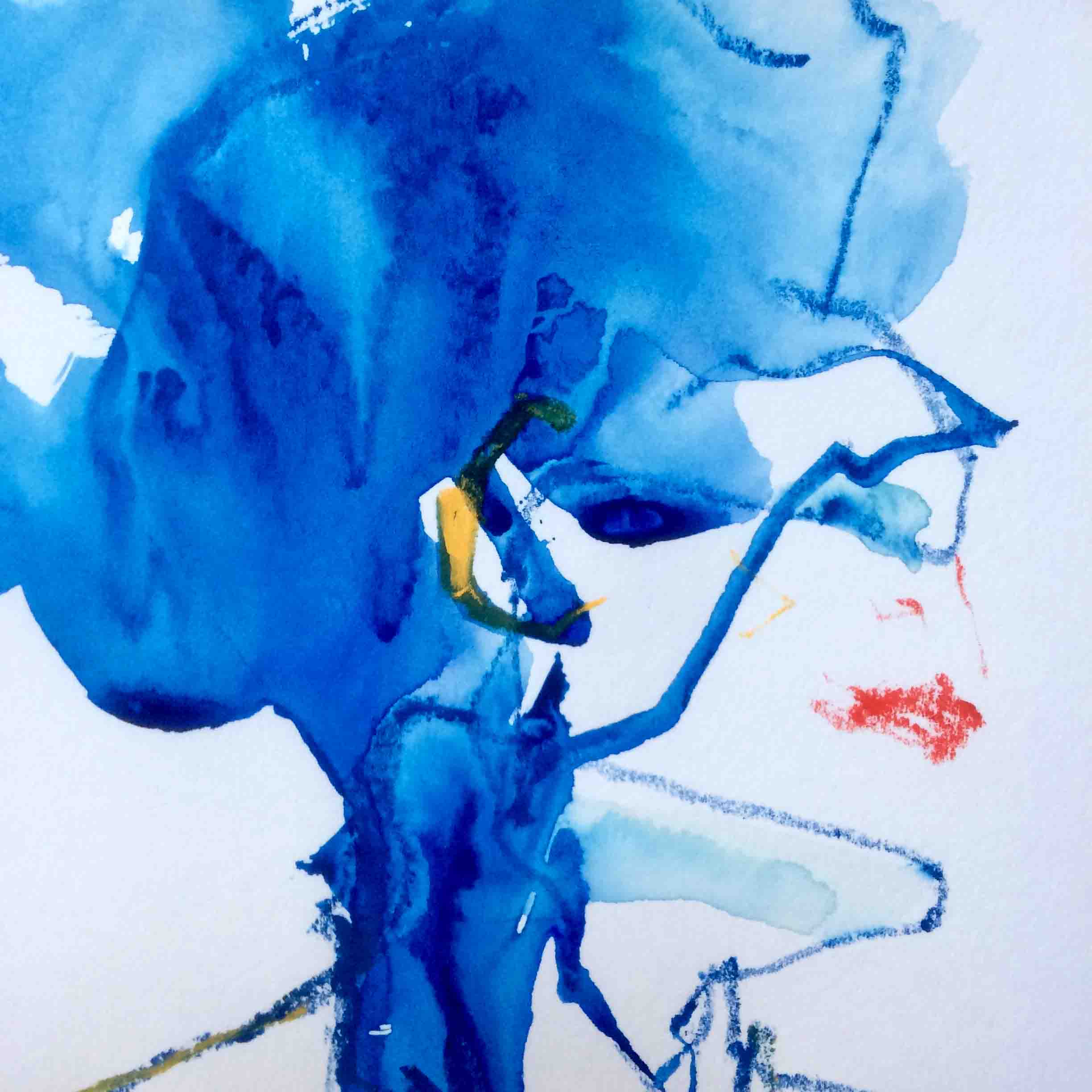 Blue Head. Watercolour and watersoluble crayon on paper.  sold.