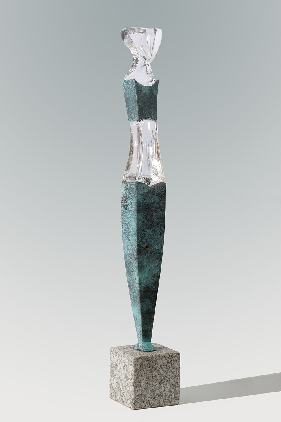 """Small Grace\"", glass, bronze, stone base, 90 x 13 x 10 cm"