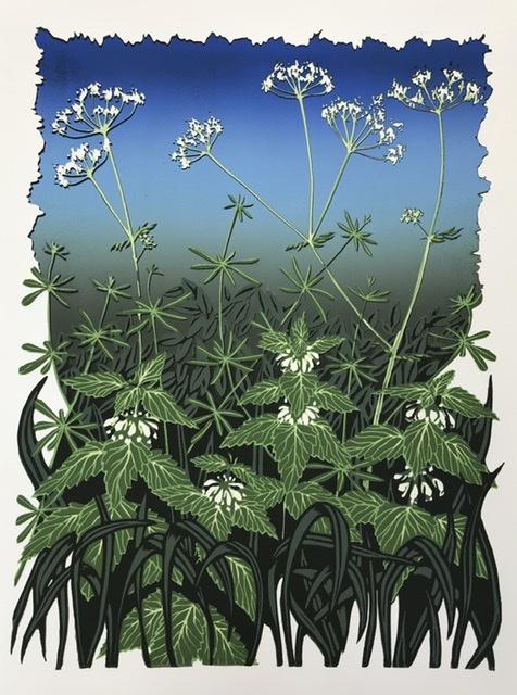 Spring greens - Linocut