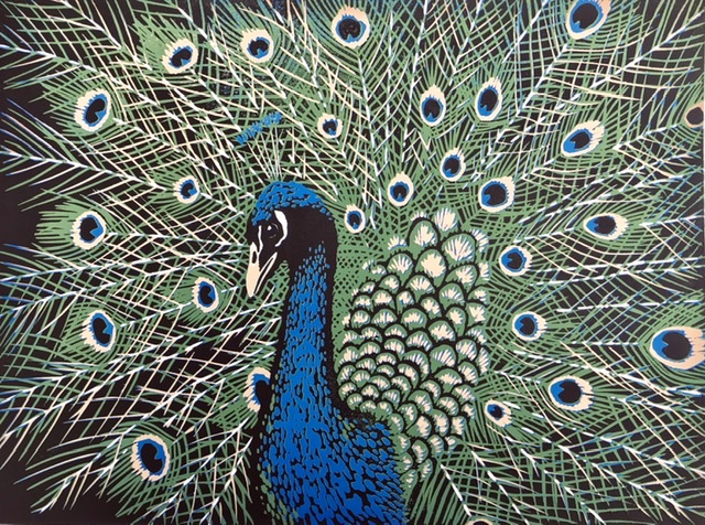Peacock - Linocut