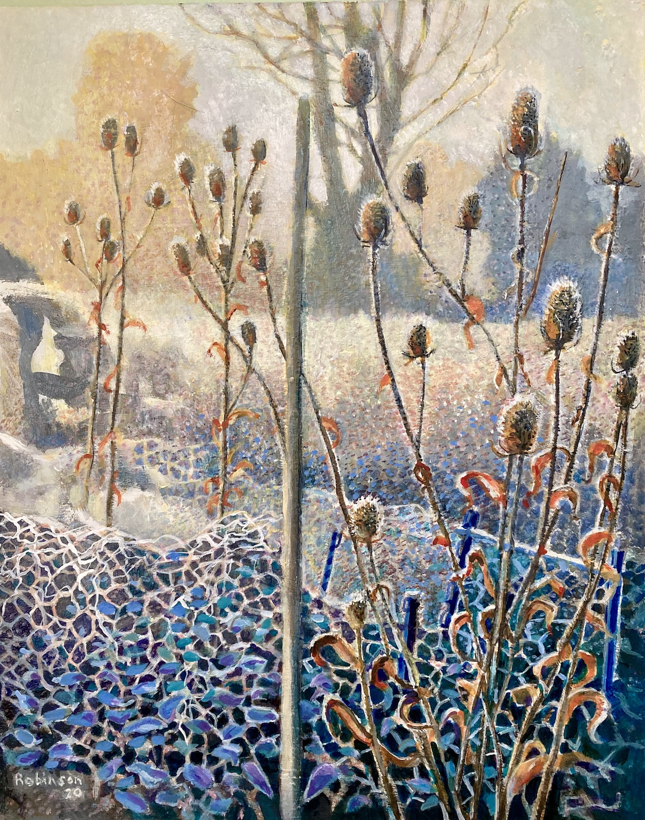 Early Sleet and Teasels acrylic on canvas 2020