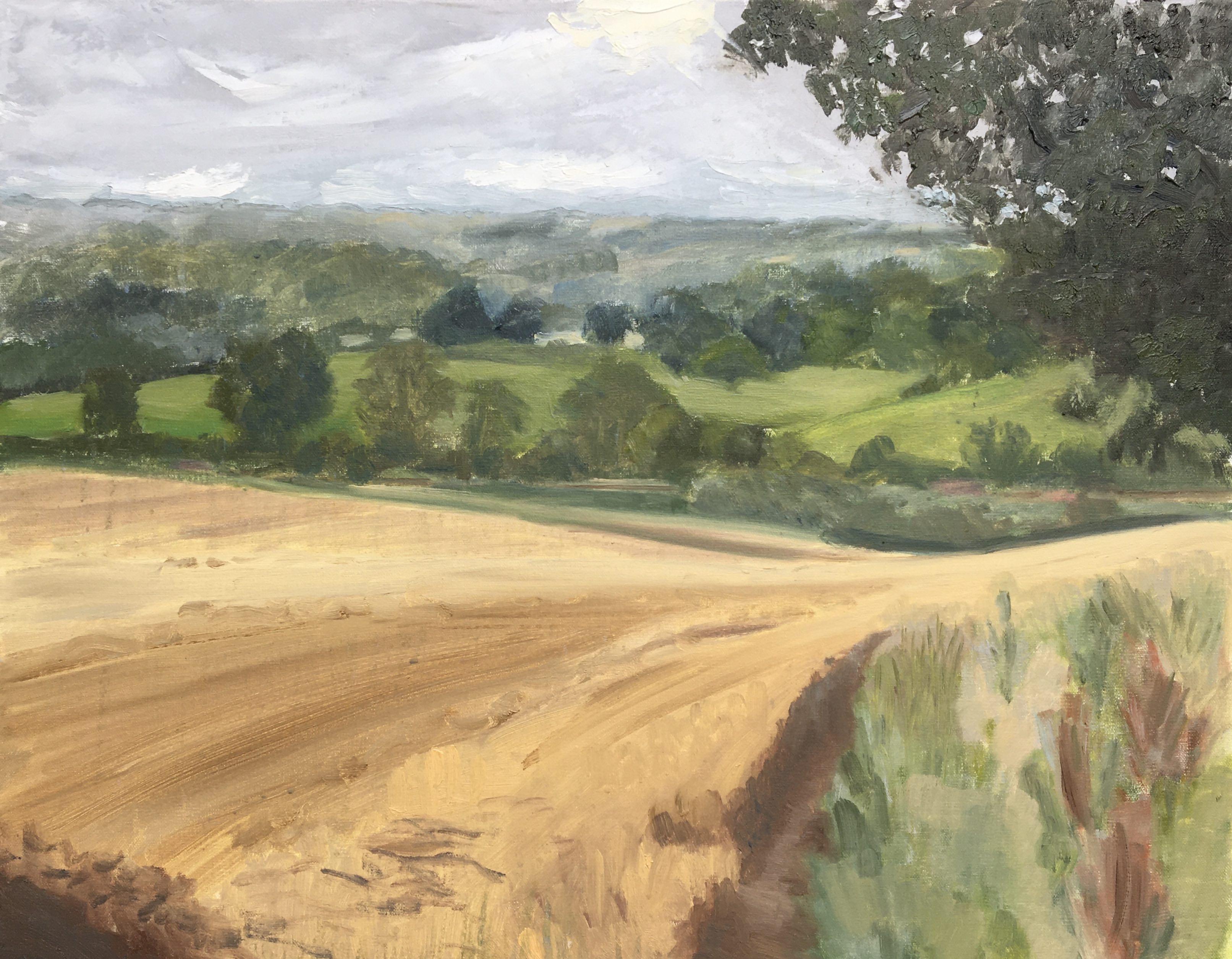 Painting in the rain, Charlbury