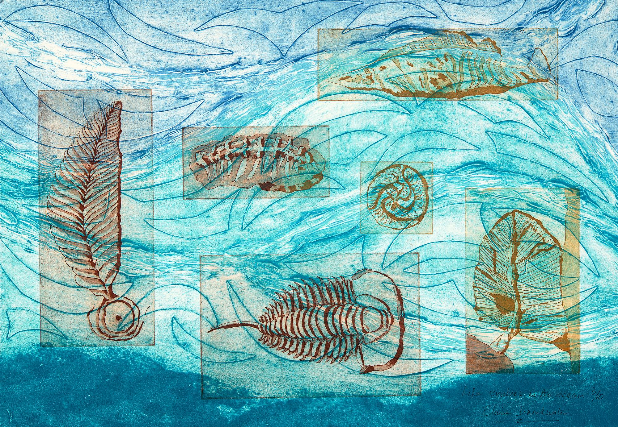 Life evolves in the ocean - Etching and collagraph