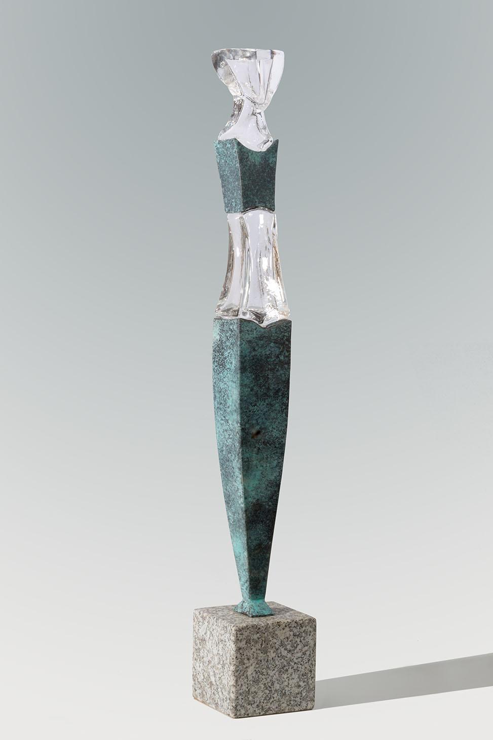"\""Small Grace\"", glass, bronze, stone base, 90 x 13 x 10 cm"