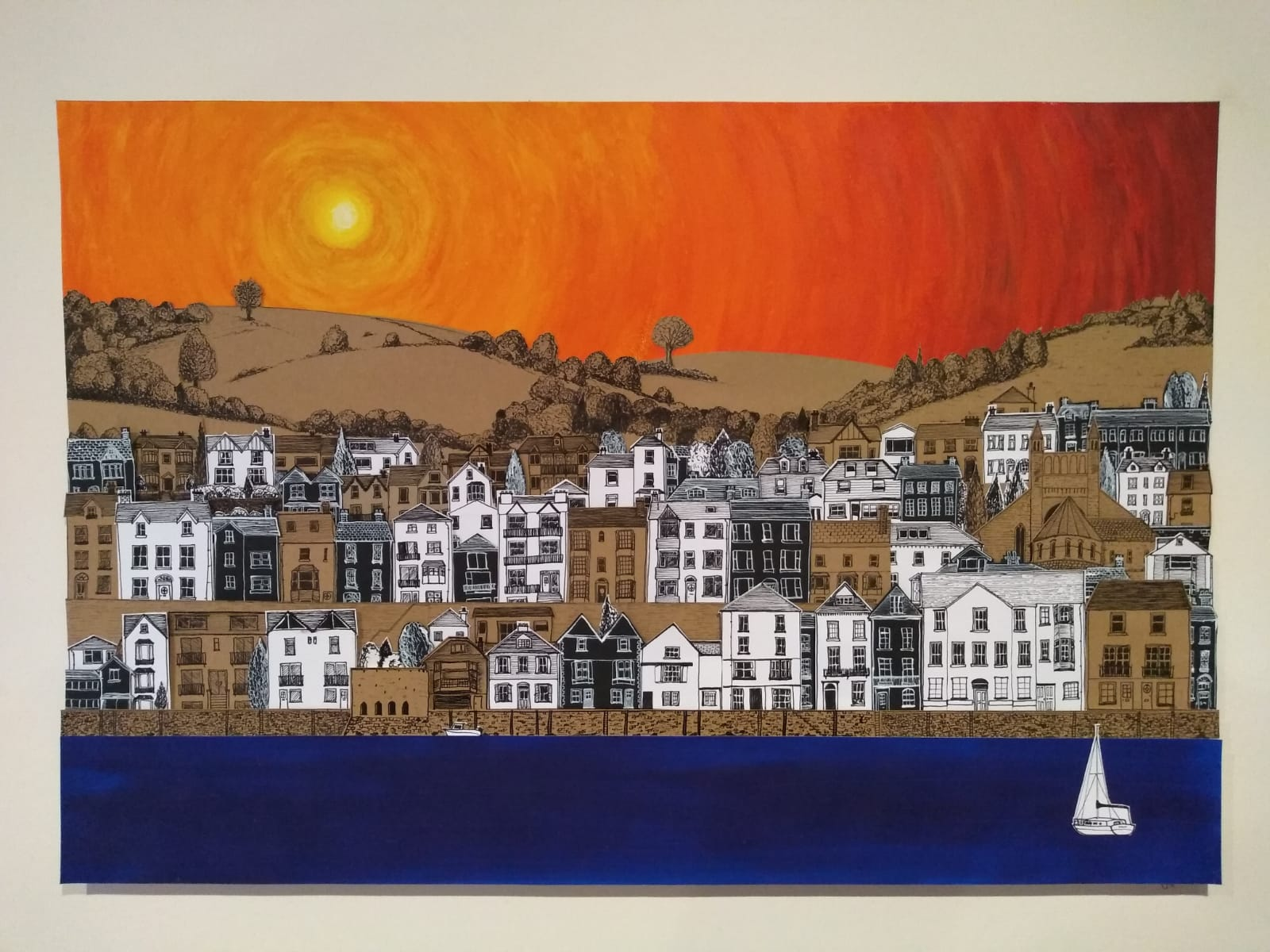 """Dartmouth Sunset"". Acrylic paint, pen and ink, relief collage/illustration."