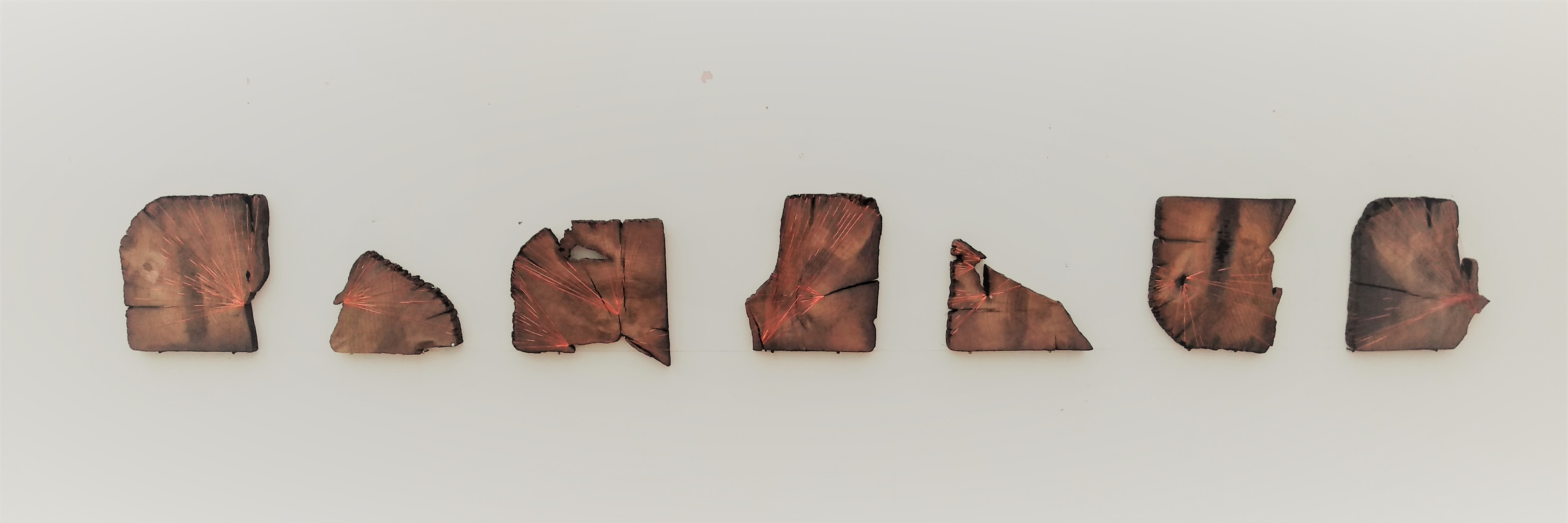 """Acts of Preservation"". Railway sleeper fragments bound in copper thread"