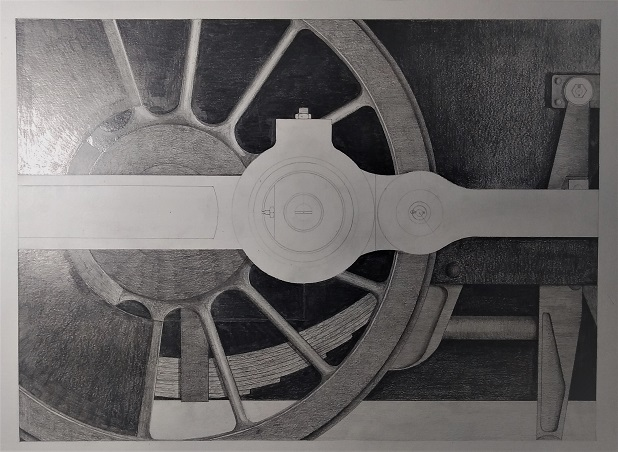 """Didcot Study #1; Steel and Grime"". Pencil on paper"