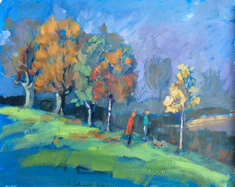 Cutteslowe Park Oxford oil on paper 28x38cm