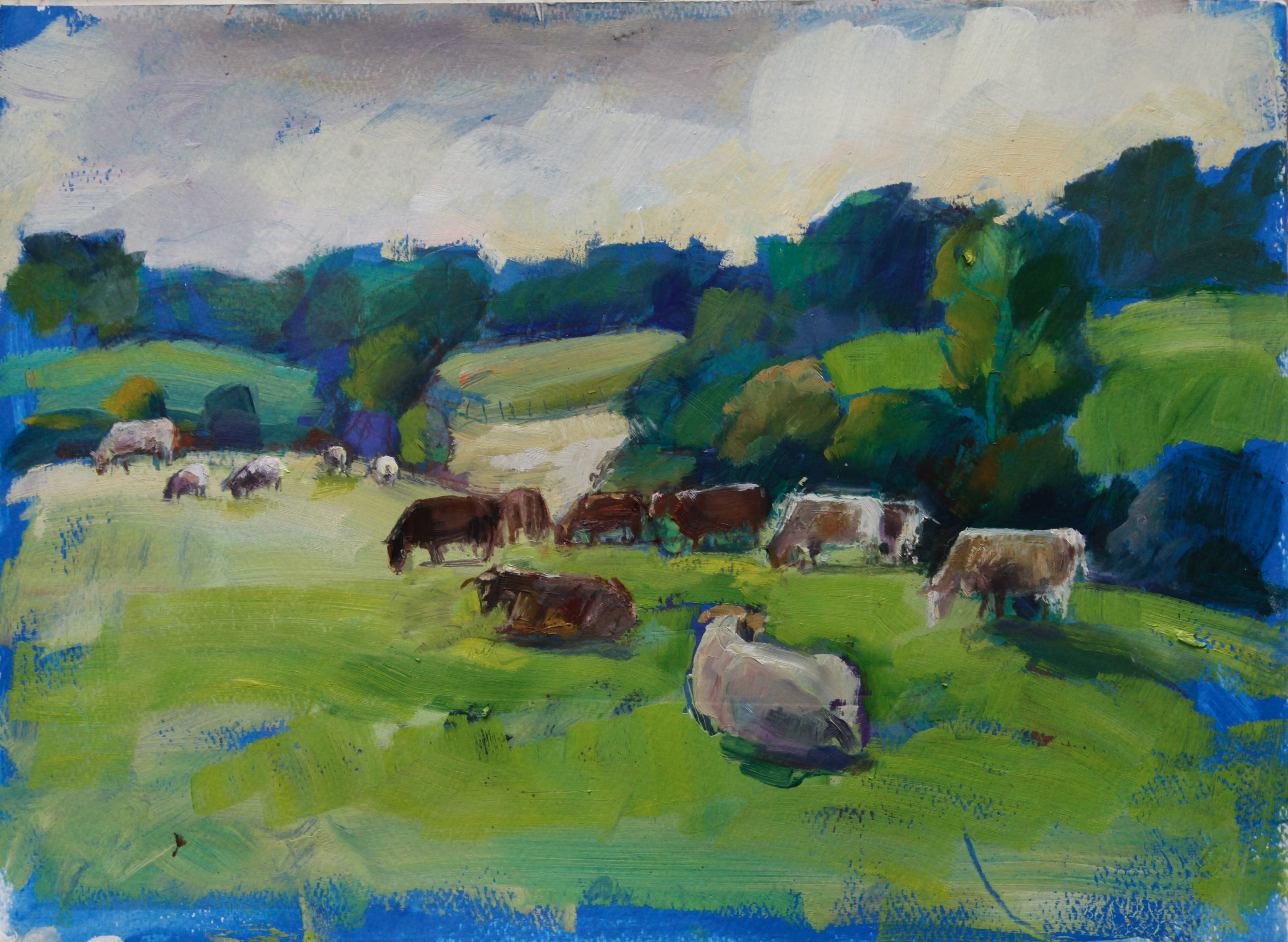 Cows in Cotswolds, Autumn light oil on paper 28x38cm