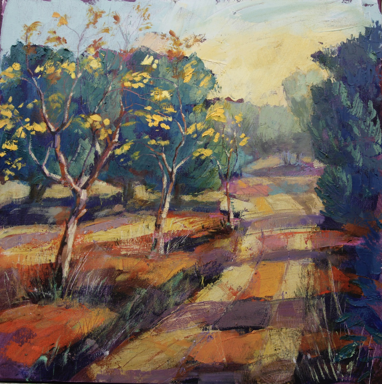 Path, Almonds, Olives oil on canvass 50x50cm