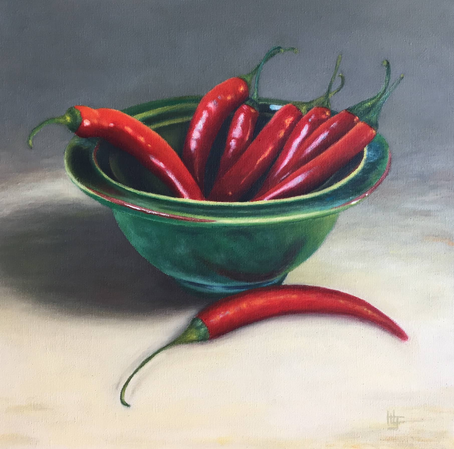 Chillis in a Green Bowl